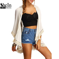SheIn Shirts And Tops For Ladeis Three Quarter Length Sleeve Cotton Beige Fringe Lace Insert Casual Kimono
