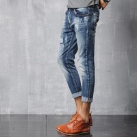 Men Jeans Slim Denim Cropped Pants [6541373955]