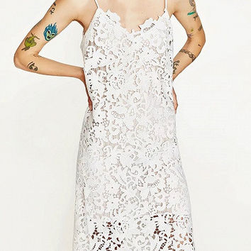 White V-Neck Spaghetti Strap Lace Midi Dress