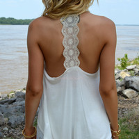 SZ LARGE Delaire Ivory Lace Back Sleeveless Top