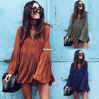 Sexy Women Pleated V Neck Long Sleeve Evening Party Long Top Blouse Mini Dres