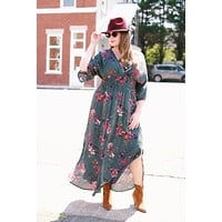 Floral Maxi Dress, Hunter Green | Plus Size