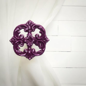 Plum / Wall Decor / Two Metal Curtain Tie Backs / Curtain Tiebacks / Curtain Holdback / Drapery Tie Back / Shabby Chic Window / Curtain Hook