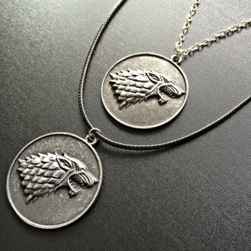Game of Thrones House Stark Necklace Dire wolf Pendant Fandom GoT Gift wolf Pendant geeky jewely Gothic