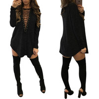 Free Shipping 2017 Women Deep V Neck Long Sleeve Lace Up Sexy Bodycon Bandage Party Dresses Casual T-Shirt Dress Vestidos