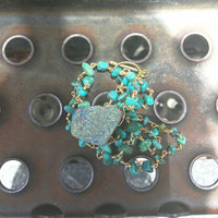 Druzy Pendent Necklace with a turquoise rosary chain