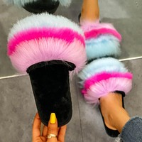 Summer new furry slippers plus size rainbow imitated fox fur flat sandals #3