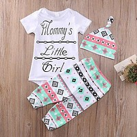 3pcs Newborn Infant Baby Girls Romper Top Pants Beanie Hat Legging Outfits Set