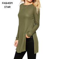 Hot Sale Ladies Round Neck Long Sleeve Army Green Street Wear Casual Loose Vintage Side Slit Long T Shirt Women
