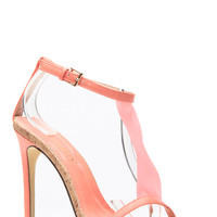 Coral Flagged Glitter Corked Single Sole Heels
