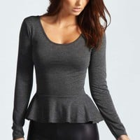 Aliya Long Sleeve Viscose Peplum Top