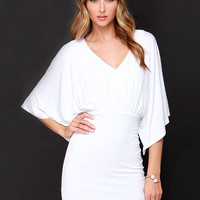 White Batwing Sleeve V-Neckline Mini Dress with Keyhole Back