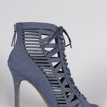 Denim Print Caged Lace Up Peep Toe Booties