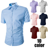Solid Color Men Short Sleeve Shirt