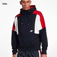 NIKE Autumn And Winter New Fashion Letter Hook Sports Leisure Hooded Long Sleeve Sweater Men Black