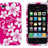 Pink Hawaiian Flowers Flexible TPU Gel Case for Apple iPhone 4, 4S (AT&T, Verizon, Sprint)