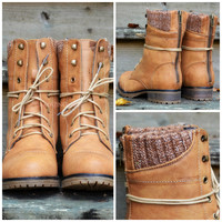 Campfire Kisses Tan Lace Up Sweater Ankle Boots