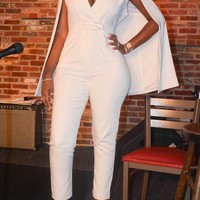 White Deep V-neck Cape High Waisted Office Worker Long Jumpsuit