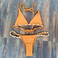 Fashion Solid Color Shell Backless Halter Bikini Set Swimsuit Swimwear