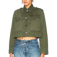 ICONS for FWRD Cropped Dutch Field Jacket in Olive | FWRD