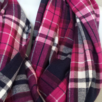 Bright Fuscia Pink Purple & White Plaid Infinity Scarf Plaid Flannel Scarves Womens or Girls Plaid Scarves Colorful Plaid Scarf Chunky Scarf