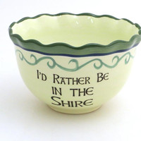 The Hobbit second breakfast cereal bowl LOTR Tolkien inspired ceramic bowl upcycled with ruffled rim