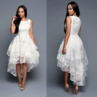 New Women White Lace Pleated Irregular Swallowtail Multi-layer Embroidery Round Neck Prom Ball Gown Maxi Dress