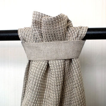 Grey hanging towel. Linen and cotton blended waffle towel.  Linen tea towel. Rustic kitchen towel. Natural hand towel.