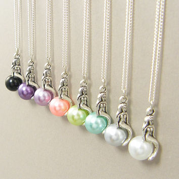 Silver Mermaid Necklace, Single Pearl Necklace, Pink Purple Aqua Green Gray White Black - Your Choice