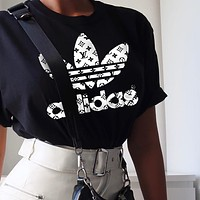 LV Louis Vuiton Adidas Joint name Trending Women Man Letters Simple Print Tee Shirt Top Black