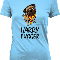 Funny Dog Shirt Harry Pugger Geekery Pug Shirt Movie Parody Pug Lover Movie T Shirt Gifts For Geek Dog Lover Shirt Ladies Tee WT-321