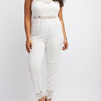 PLUS SIZE FLORAL LACE SLEEVELESS JUMPSUIT