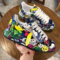 New Alexander McQueen Women Men Fashion Graffiti color Casual Sports Shoes Size 36-45