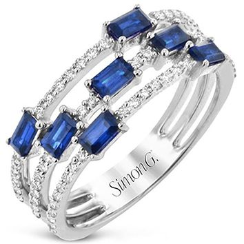 Simon G. Sapphire Baguette and Diamond Multi-Row Ring