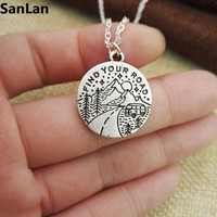 1pcs find your road Pine Tree charm under the mountain necklace camping jewelry Outdoor Jewelry Gifts for Campers SanLan