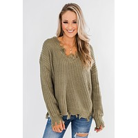 My Own Way Frayed V-Neck Sweater- Olive