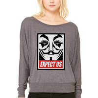 Anonymous Expect us WOMEN'S FLOWY LONG SLEEVE OFF SHOULDER TEE