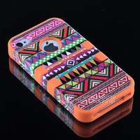Stand + For iPhone 4 4S Hard 3-Piece Hybrid High Impact Aztec Tribal Case Cover