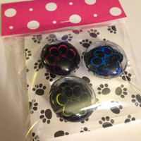 Decorative Glass Tacks/Magnets, Paw Prints