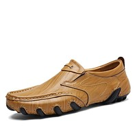 Elegant Style Slip On Leather Height Increasing Shoes