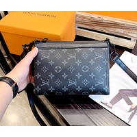LV 2019 new black old flower handbag crossbody shoulder bag
