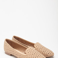 Perforated Faux Leather Loafers