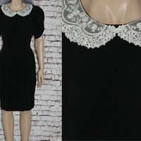 80s Cocktail Dress Black White Lace Collar Wednesday Addams Drop Waist Puffed Sleeves Goth Gothic Lolita Hipster Party Grunge 90s