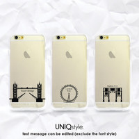 """Personalized iPhone 6 4.7"""" transparent clear case with custom texts - iPhone 4/4s 5/5s 5c Samsung Note3 S4 S5 clear case - London eye - A106"""