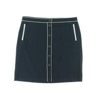 Tommy Hilfiger Womens Contrast Trim Button Front Straight Skirt