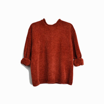 Vintage 90s Plush Chenille Sweater in Rust Orange / Super Cozy Sweater - women's large