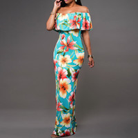 Boho Fashion Sexy Bodycon Long Summer Dresses Off  The Shoulder  Strapless Flower Print Backless Elegant Party Maxi Dress 265