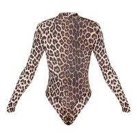 Sharlisa Brown Slinky Leopard Print Thong Bodysuit
