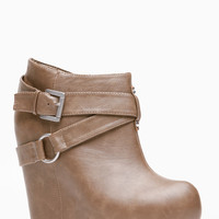 Bamboo Buckle Up Faux Leather Bootie Wedge