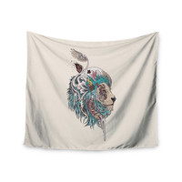 """Mat Miller """"Unbound Autonomy"""" Abstract Lion Wall Tapestry"""